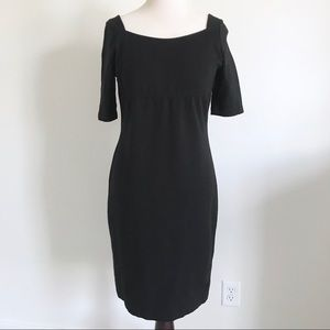 Talbots Black Short Sleeve Boat Neck Sheath Dress